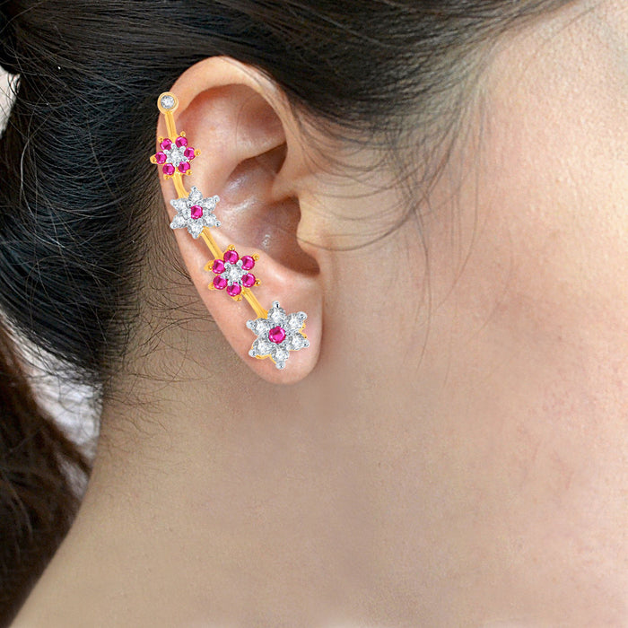 Pissara Delightful Gold and Rhodium Plated Cubic Zirconia and Ruby Stone Studded Ear cuff