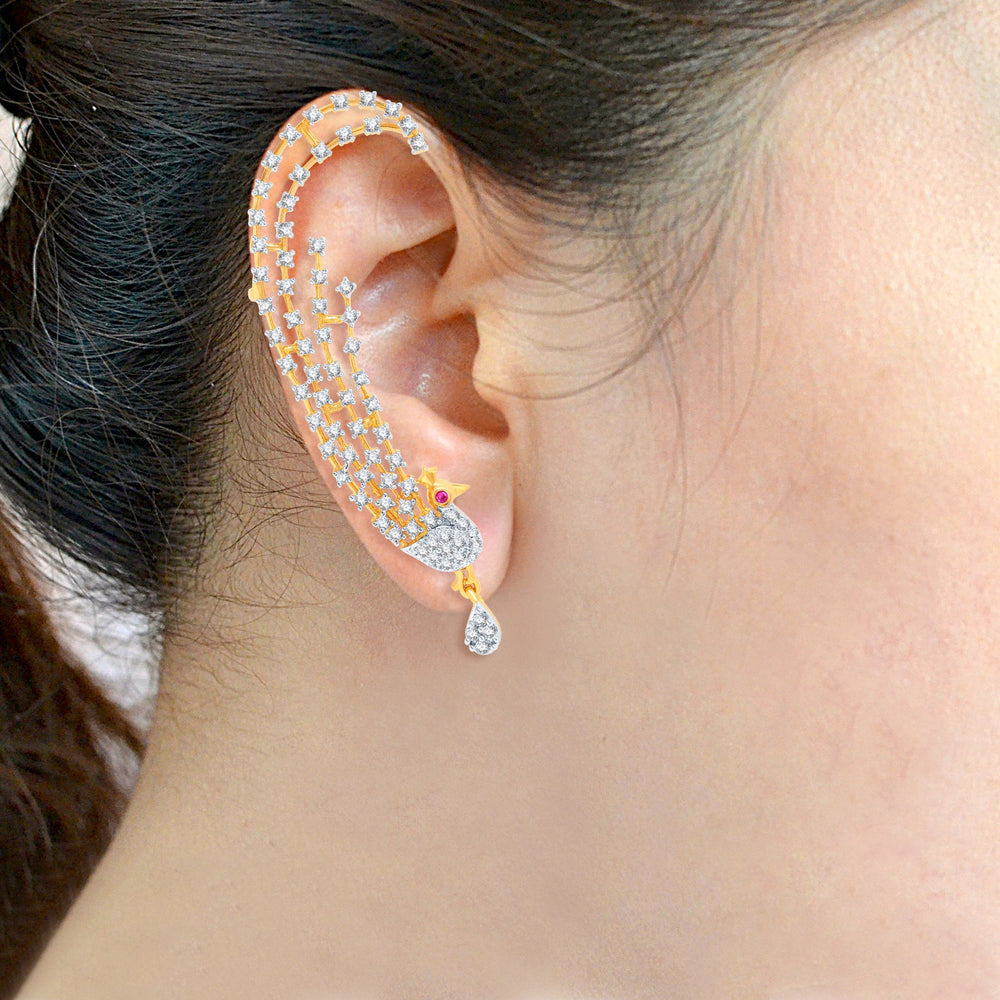 Pissara Sublime Gold and Rhodium Plated Cubic Zirconia Stone Studded Ear cuff