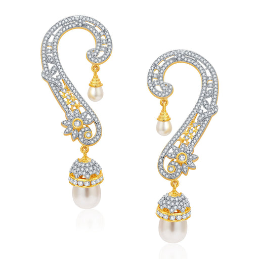 Pissara Glittery Gold and Rhodium Plated CZ Earcuff For Women