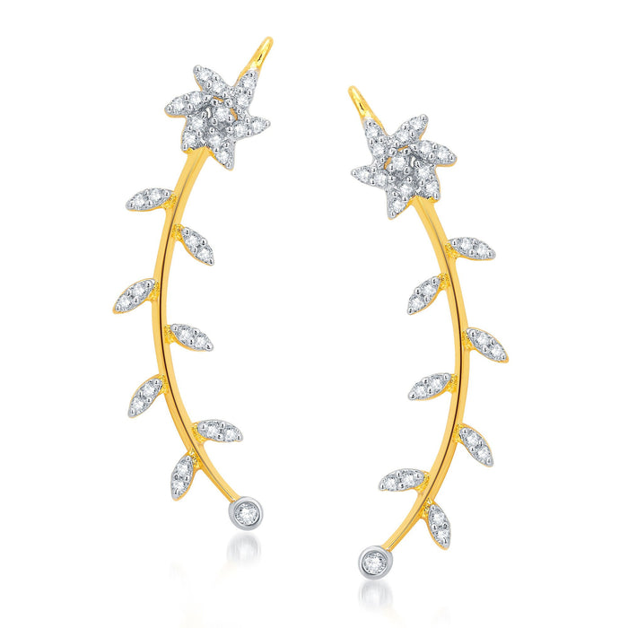Pissara Attractive Gold and Rhodium Plated CZ Earcuff For Women