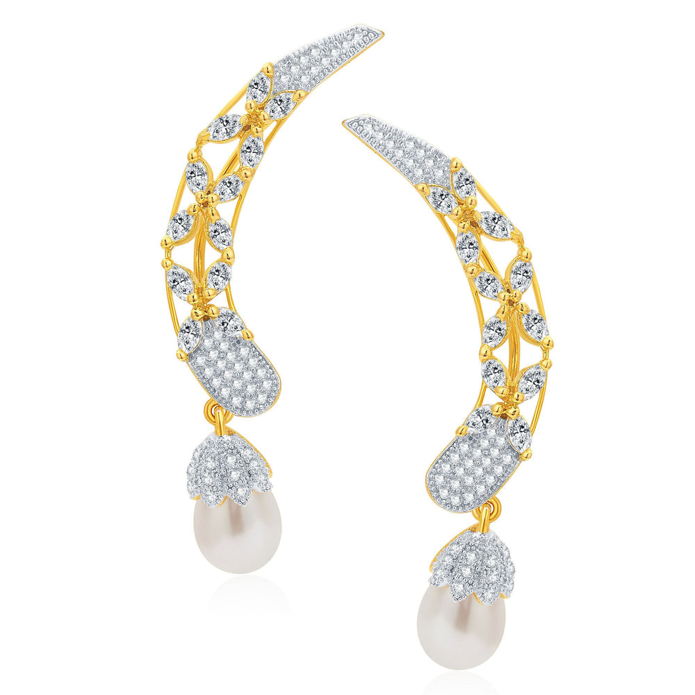 Pissara Traditionally Gold and Rhodium Plated CZ Earcuff For Women