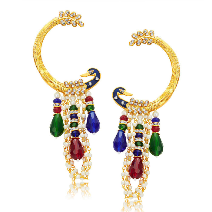 Sukkhi Shimmering Peacock Gold Plated Pearl Earcuff For Women