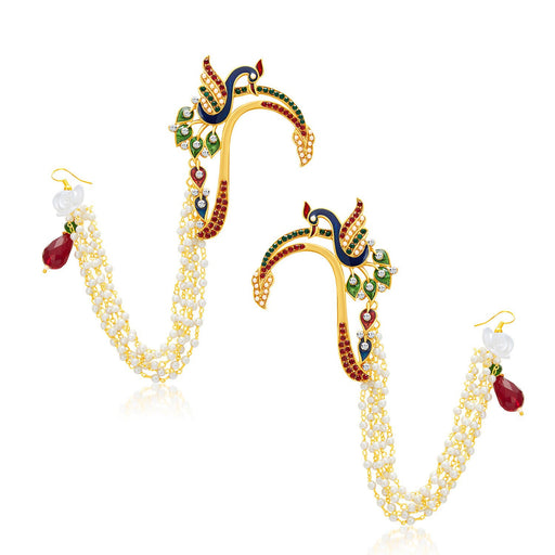 Sukkhi Divine Peacock Gold Plated Pearl Earcuff For Women