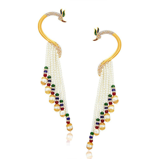 Sukkhi Designer Peacock Gold Plated Pearl Ear cuff For Women