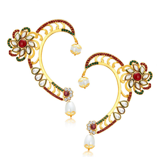 Sukkhi Gleaming Gold Plated AD Earcuff For Women