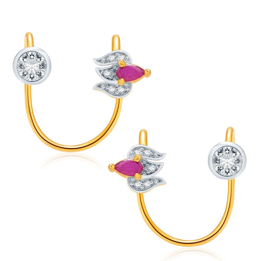 Pissara Luminous Gold And Rhodium Plated Ruby CZ Earcuff For Women
