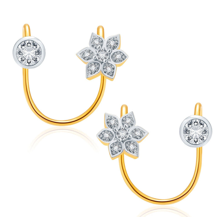 Pissara Lovely Gold And Rhodium Plated CZ Earcuff For Women