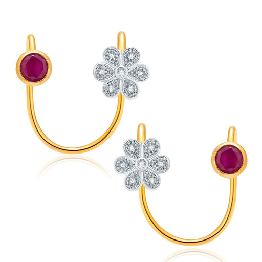 Pissara Striking Gold And Rhodium Plated Ruby CZ Earcuff For Women
