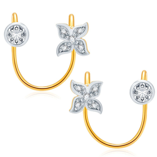 Pissara Dashing Gold And Rhodium Plated CZ Earcuff For Women