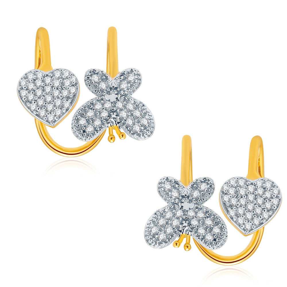Pissara Remarkable Gold And Rhodium Plated CZ Earcuff For Women
