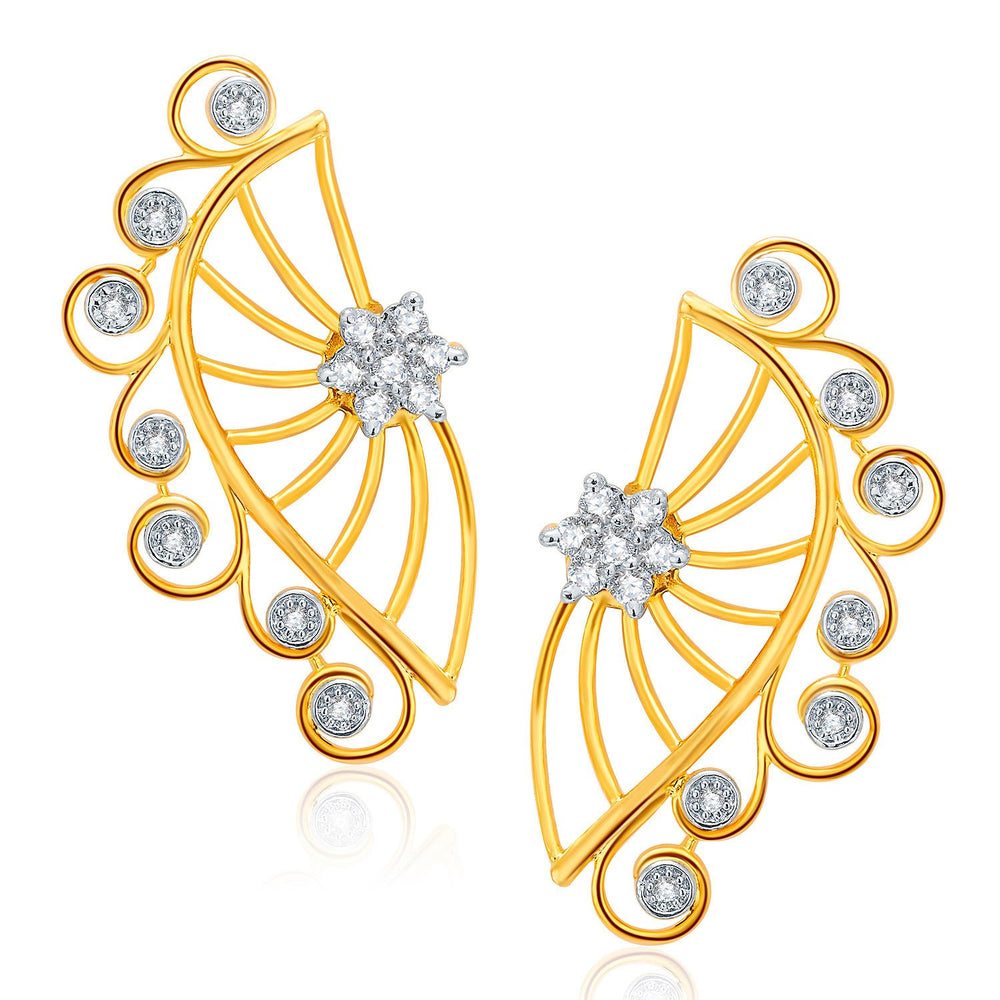 Pissara Sarene Gold And Rhodium Plated CZ Earcuff For Women