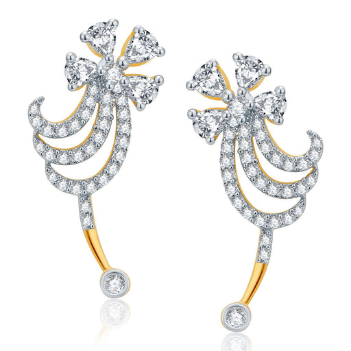 Pissara Ravishing Gold And Rhodium Plated CZ Earcuff For Women