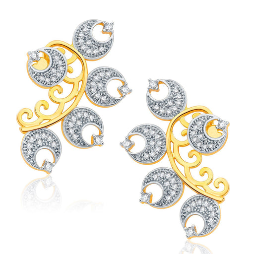 Pissara Ornate Gold And Rhodium Plated CZ Earcuff For Women