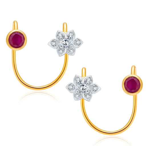 Pissara Bliss Gold And Rhodium Plated Ruby CZ Earcuff For Women