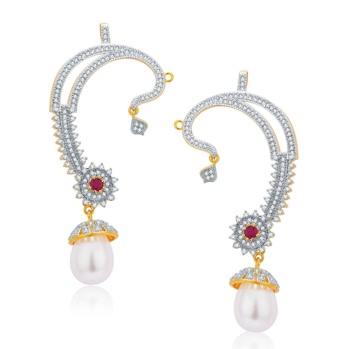 Pissara Lavish Gold And Rhodium Plated Ruby CZ Earcuff For Women