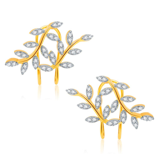 Pissara Lustrous Gold And Rhodium Plated CZ Earcuff For Women