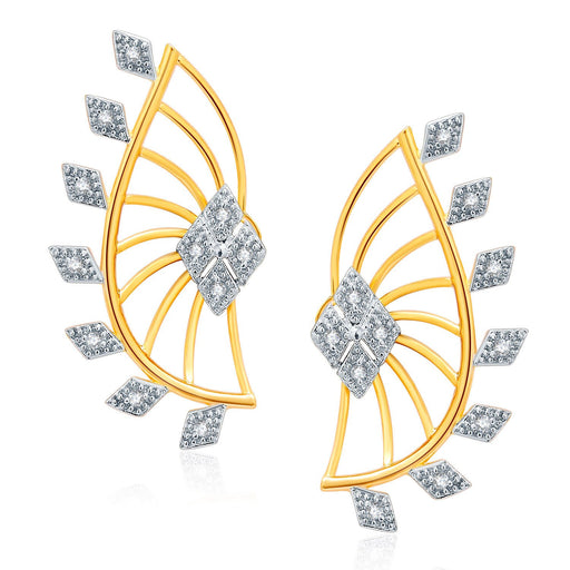 Pissara Edgy Gold And Rhodium Plated CZ Earcuff For Women