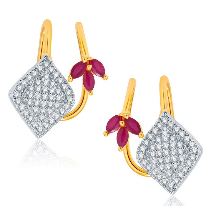 Pissara Engaging Gold And Rhodium Plated Ruby CZ Earcuff For Women