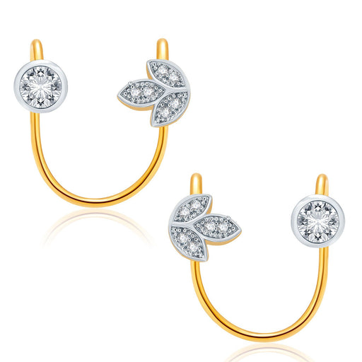 Pissara Cheerful Gold And Rhodium Plated CZ Earcuff For Women