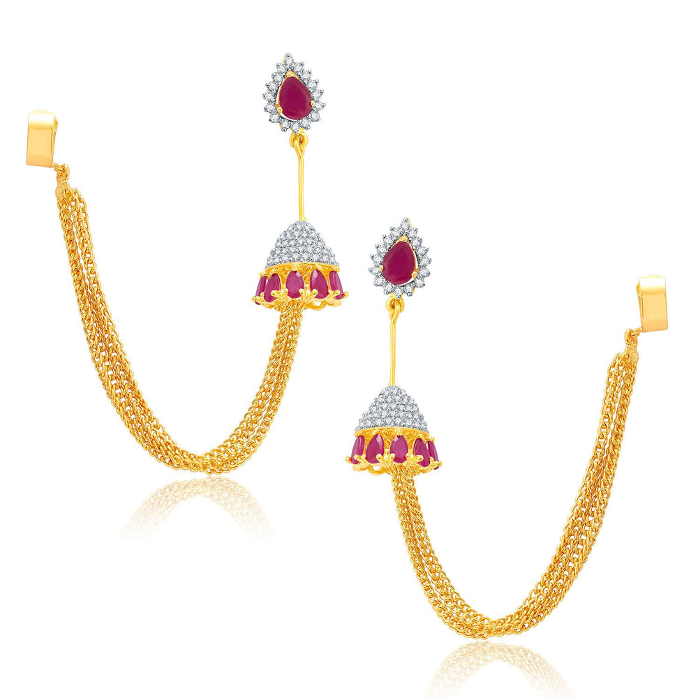 Pissara Exhilarating Gold And Rhodium Plated Ruby CZ EarCuff For Women