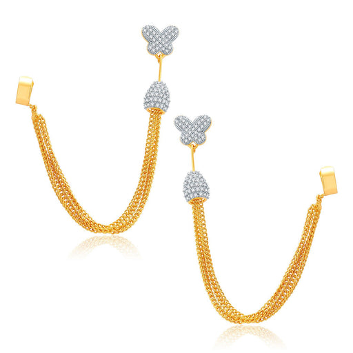 Pissara Dangling Gold And Rhodium Plated CZ EarCuff For Women