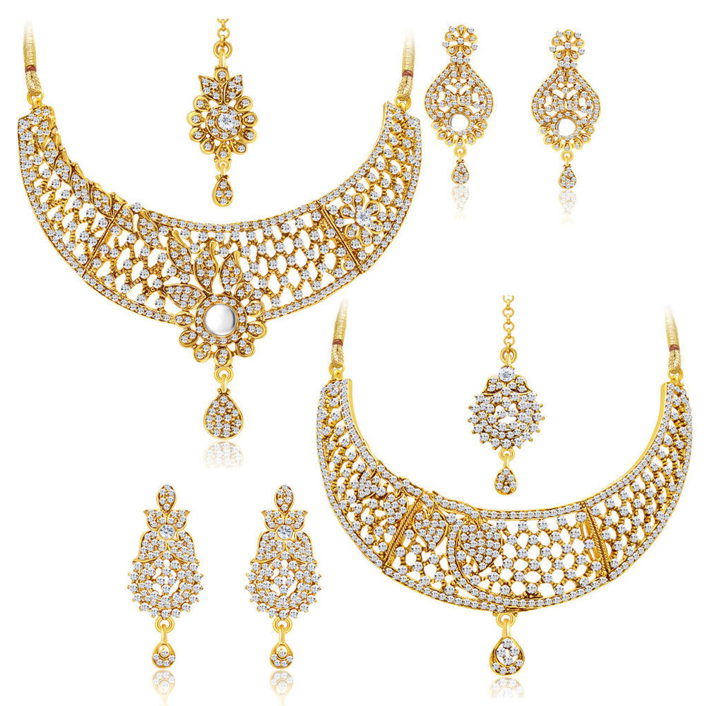 Sukkhi Amazing Gold Plated AD Set of 2 Necklace Set Combo For Women