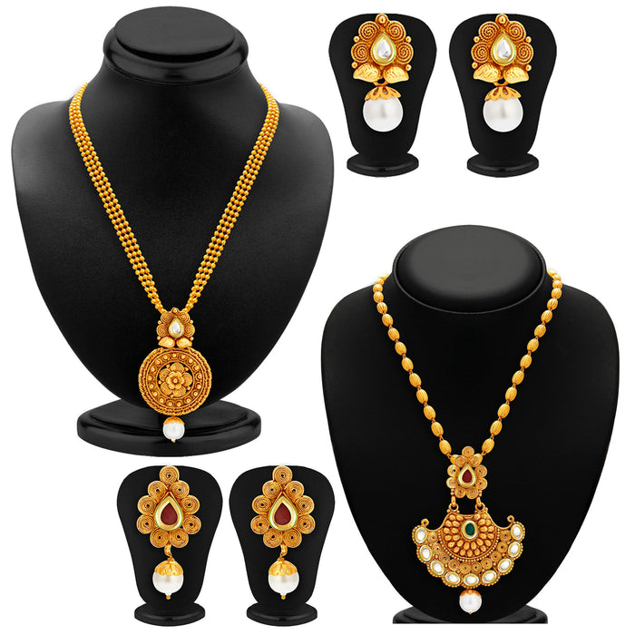 Sukkhi Wavy Gold Plated Kundan Set of 2 Necklace Set Combo For Women