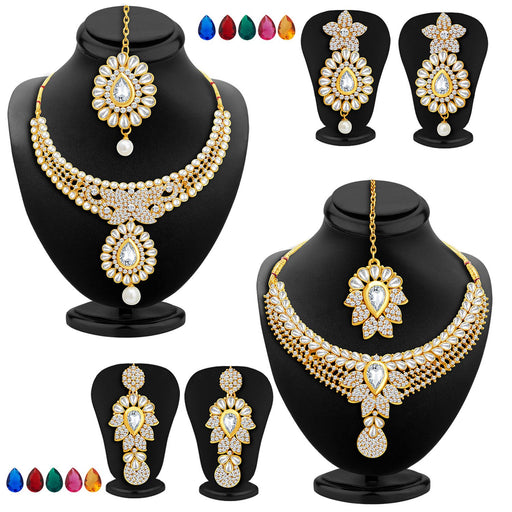 Sukkhi Royal Gold Plated AD Set of 2 Necklace Set with Set of 10 Changeable Stone Combo For Women