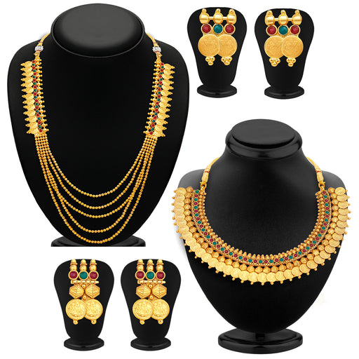 Sukkhi Shimmering Laxmi Temple Coin Gold Plated Set Of 2 Necklace Set Combo For Women
