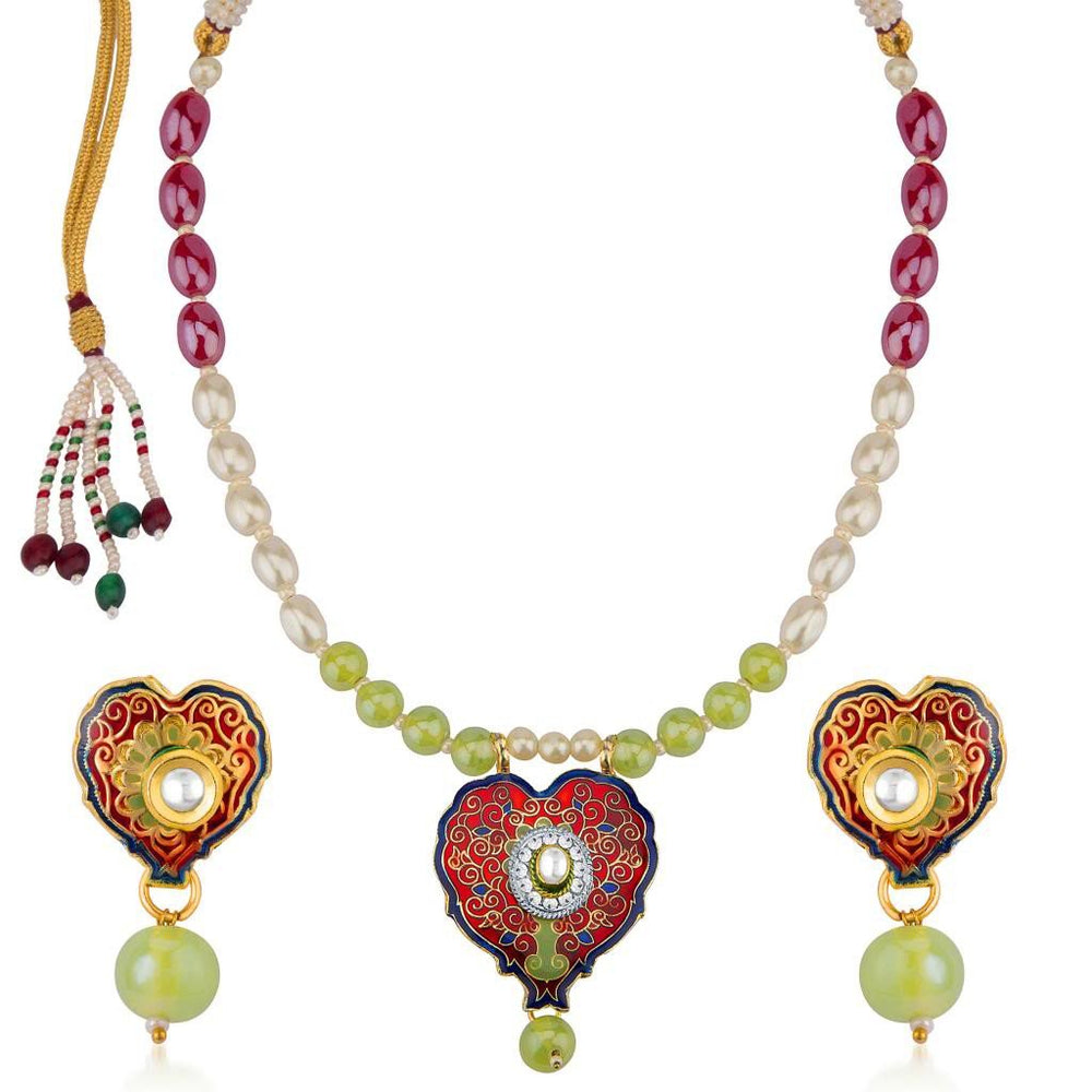 Sukkhi Gleaming Meenakari Pendant Set With Multi-Coloured Pearls Mala