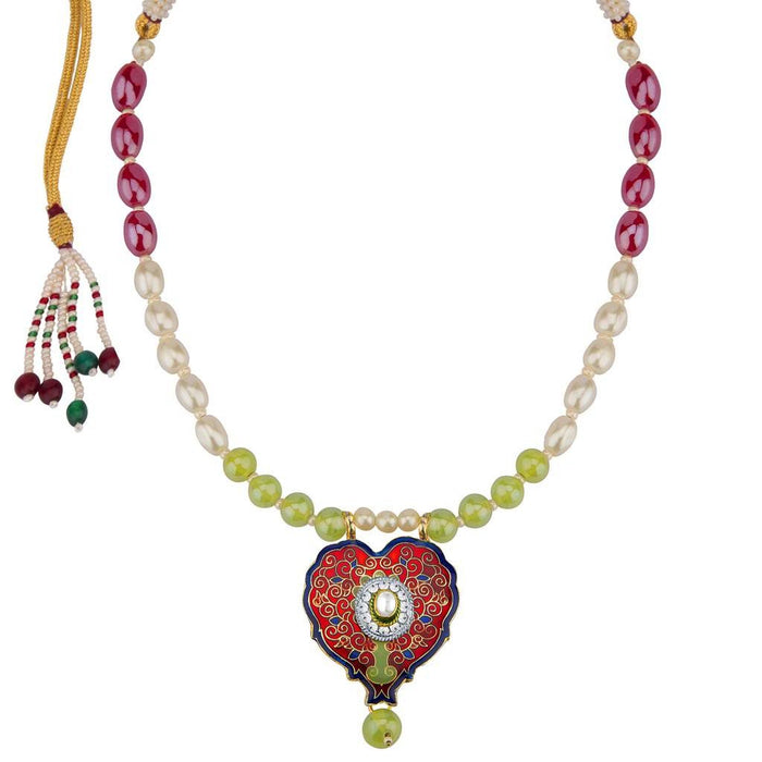Sukkhi Gleaming Meenakari Pendant Set With Multi-Coloured Pearls Mala-1