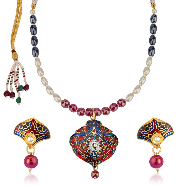Sukkhi Fabulous Meenakari Pendant Set With Multi-Coloured Pearls Mala