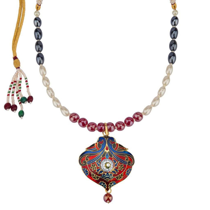 Sukkhi Fabulous Meenakari Pendant Set With Multi-Coloured Pearls Mala-1