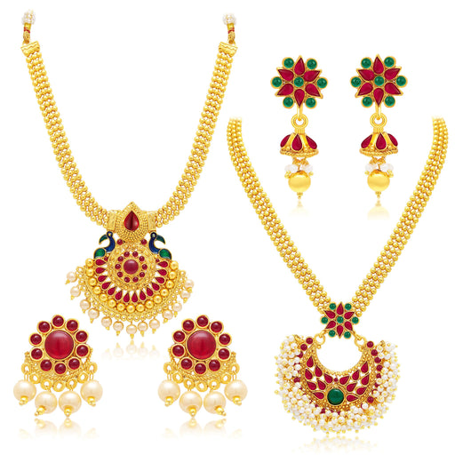 Sukkhi Gleaming Gold Plated Set of 2 Necklace Set Combo For Women