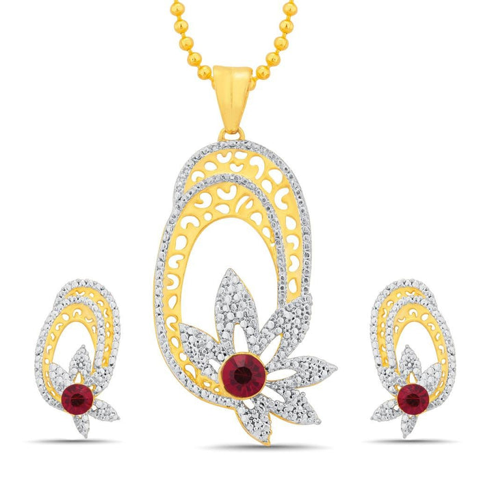 Sukkhi Cluster Gold and Rhodium Plated Pendant Set With Chain