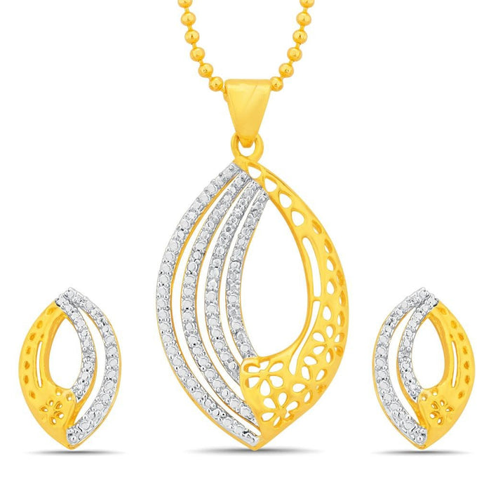 Sukkhi Splendid Gold and Rhodium Plated Pendant Set With Chain