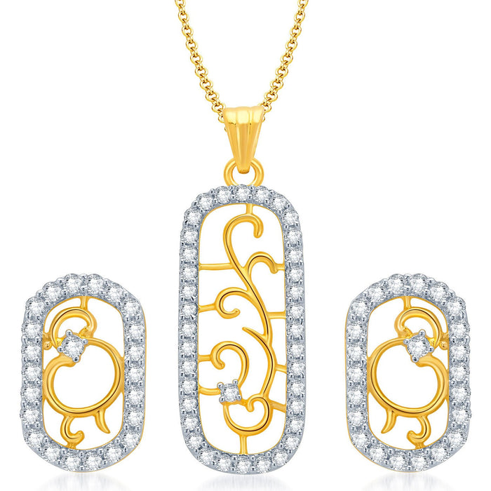 Pissara Eye-Catchy Gold and Rhodium Plated CZ Pendant Set for Women