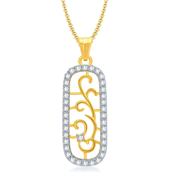 Pissara Eye-Catchy Gold and Rhodium Plated CZ Pendant Set for Women-1