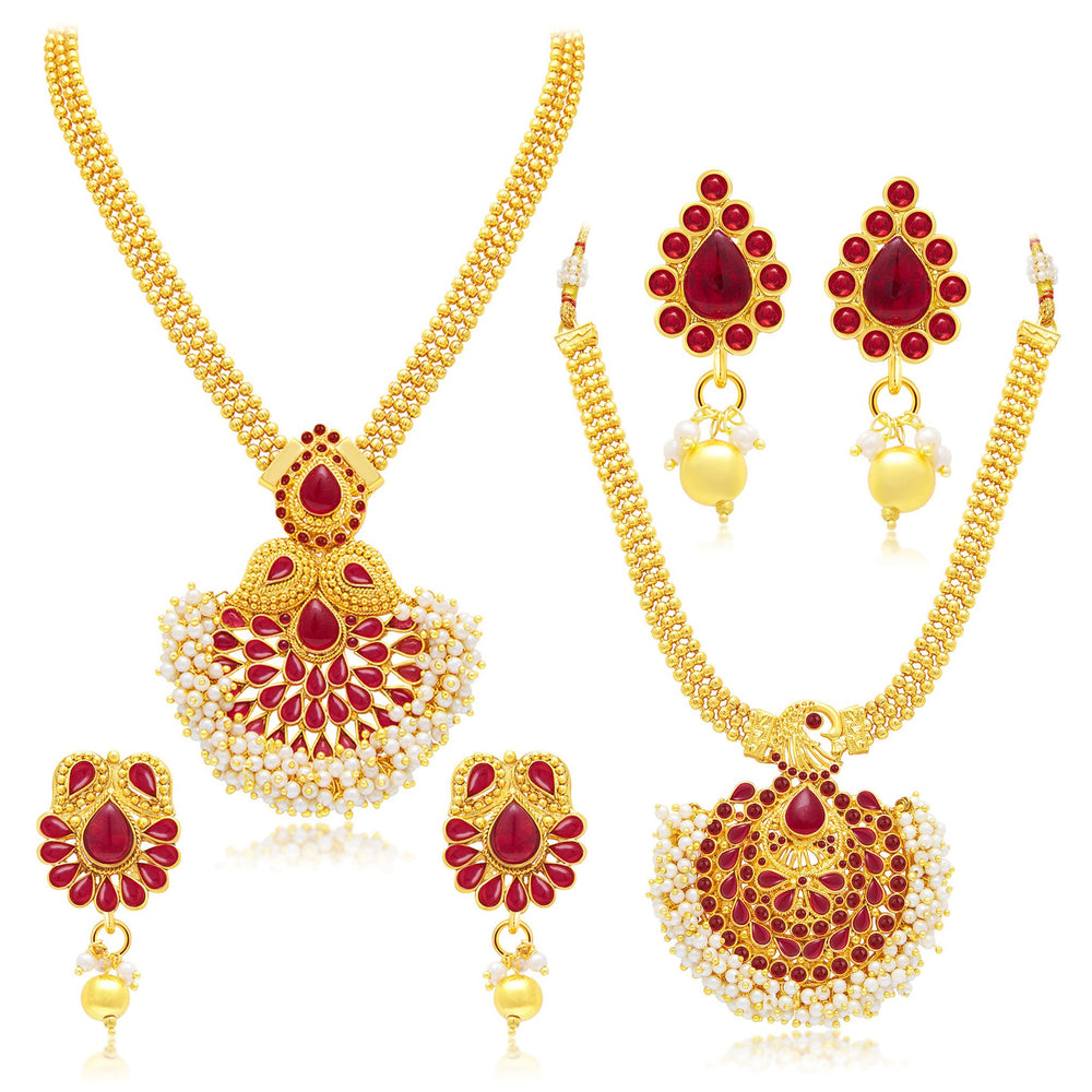 Sukkhi Enchanting Gold Plated Set of 2 Necklace Set Combo For Women