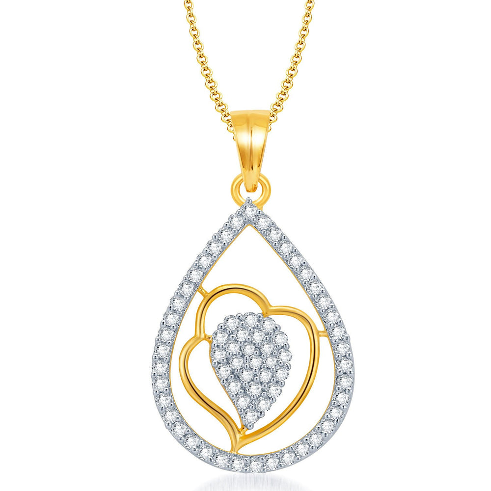 Pissara Exquisite Gold and Rhodium Plated CZ Pendant Set for Women-1