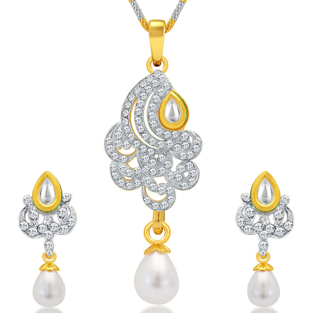 Sukkhi Cluster Gold and Rhodium Plated AD Kundan Pendant Set for Women