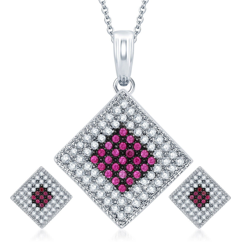Pissara Magnificent Rhodium Plated Ruby CZ Micro Pave Pendant Set