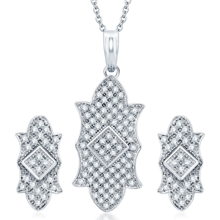 Pissara Exquisite Rhodium Plated CZ Micro Pave Pendant Set