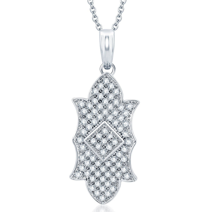 Pissara Exquisite Rhodium Plated CZ Micro Pave Pendant Set-1