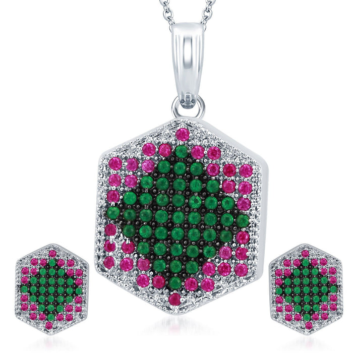 Pissara Fashionable Rhodium Plated Emerald Ruby CZ Micro Pave Pendant Set