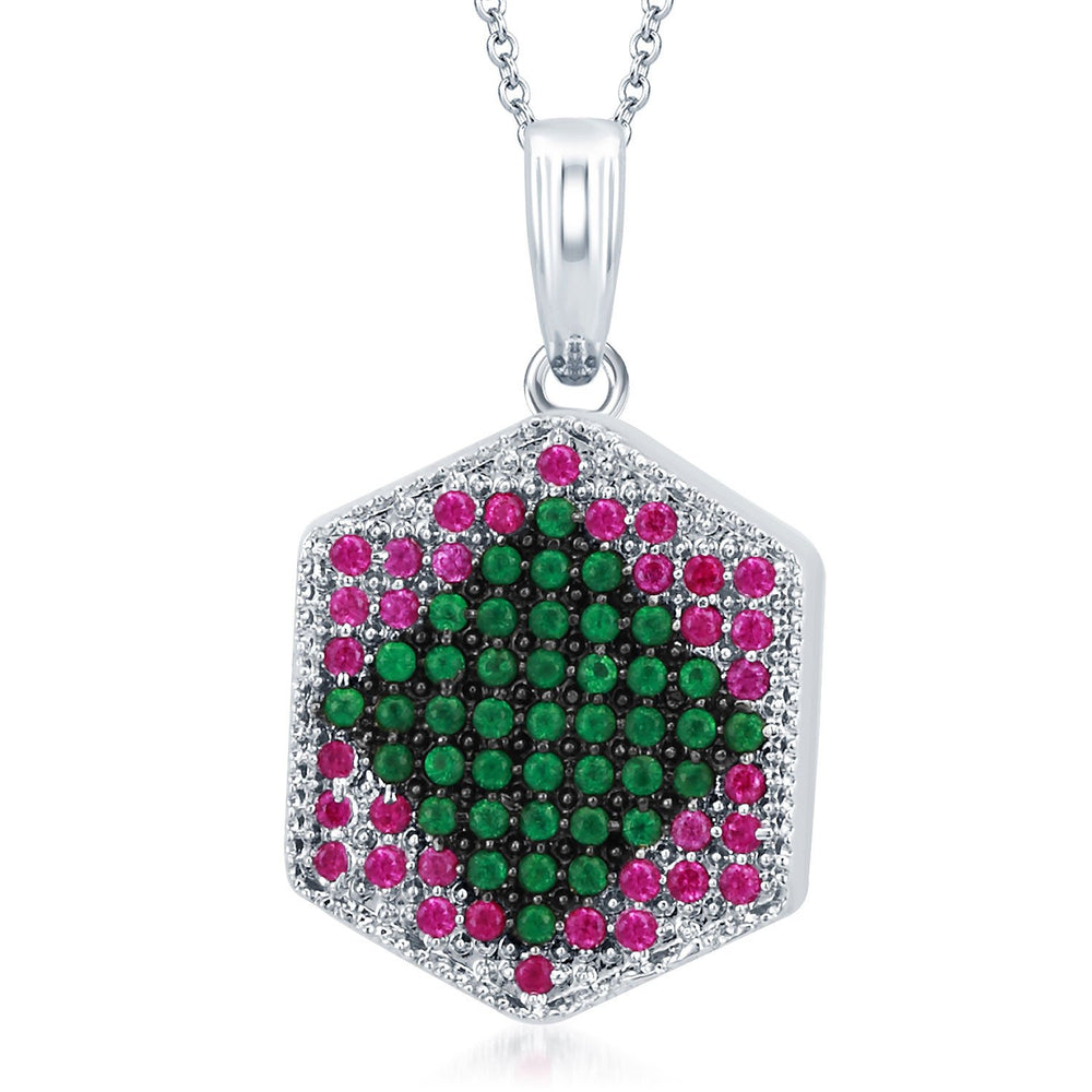 Pissara Fashionable Rhodium Plated Emerald Ruby CZ Micro Pave Pendant Set-1