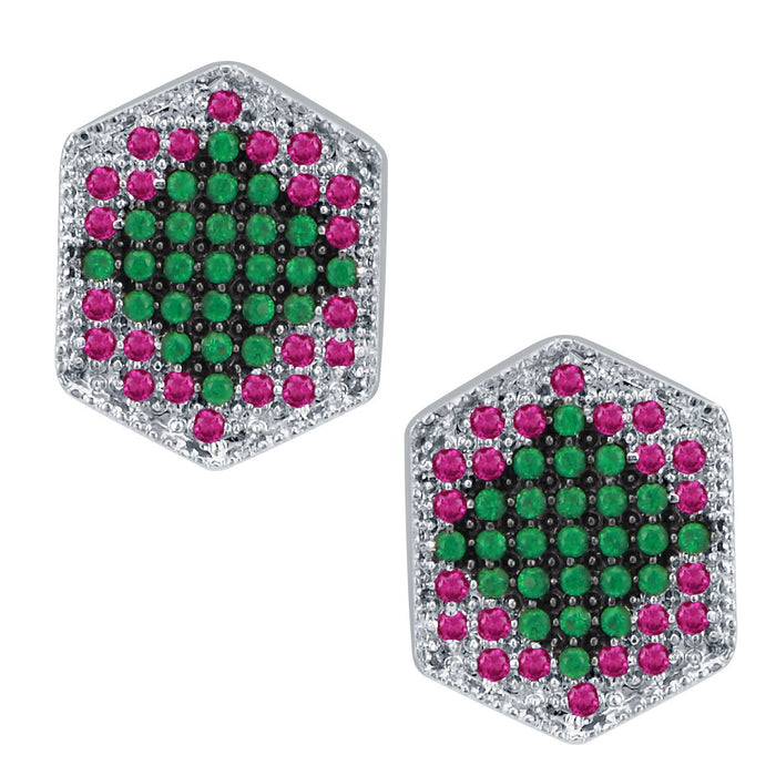Pissara Fashionable Rhodium Plated Emerald Ruby CZ Micro Pave Pendant Set-2