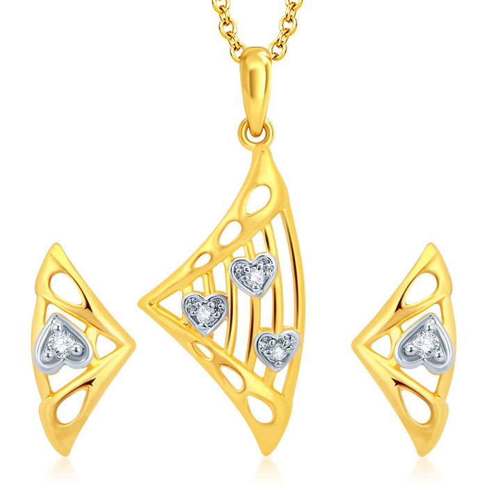 Pissara Fancy Gold and Rhodium Plated CZ Pendant Set