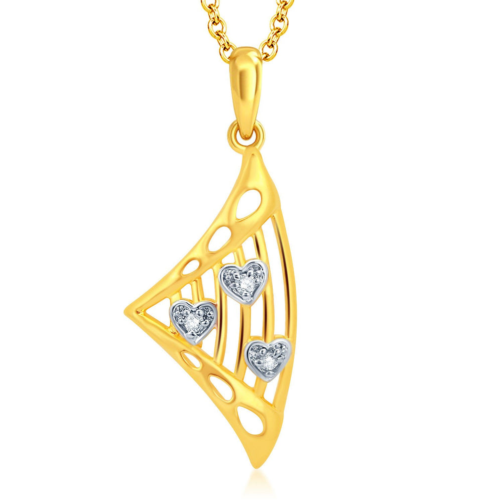 Pissara Fancy Gold and Rhodium Plated CZ Pendant Set-1