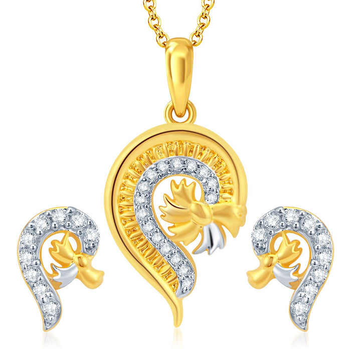 Pissara Glistening Gold and Rhodium Plated CZ Pendant Set